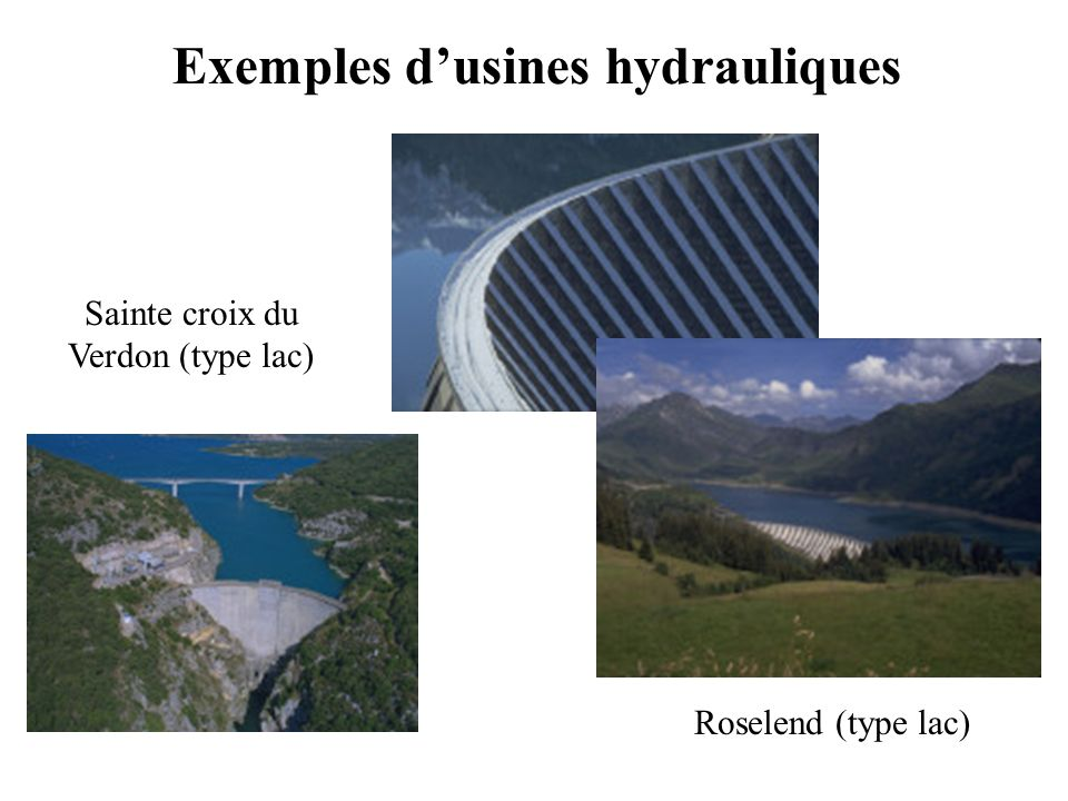 Exemples d'usines hydrauliques