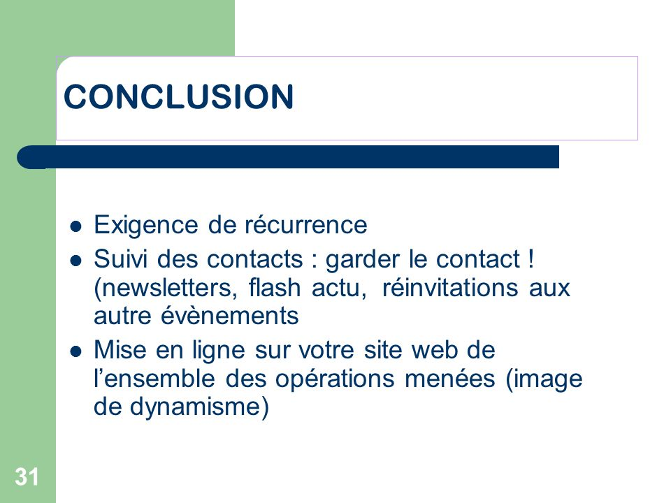 CONCLUSION Exigence de récurrence