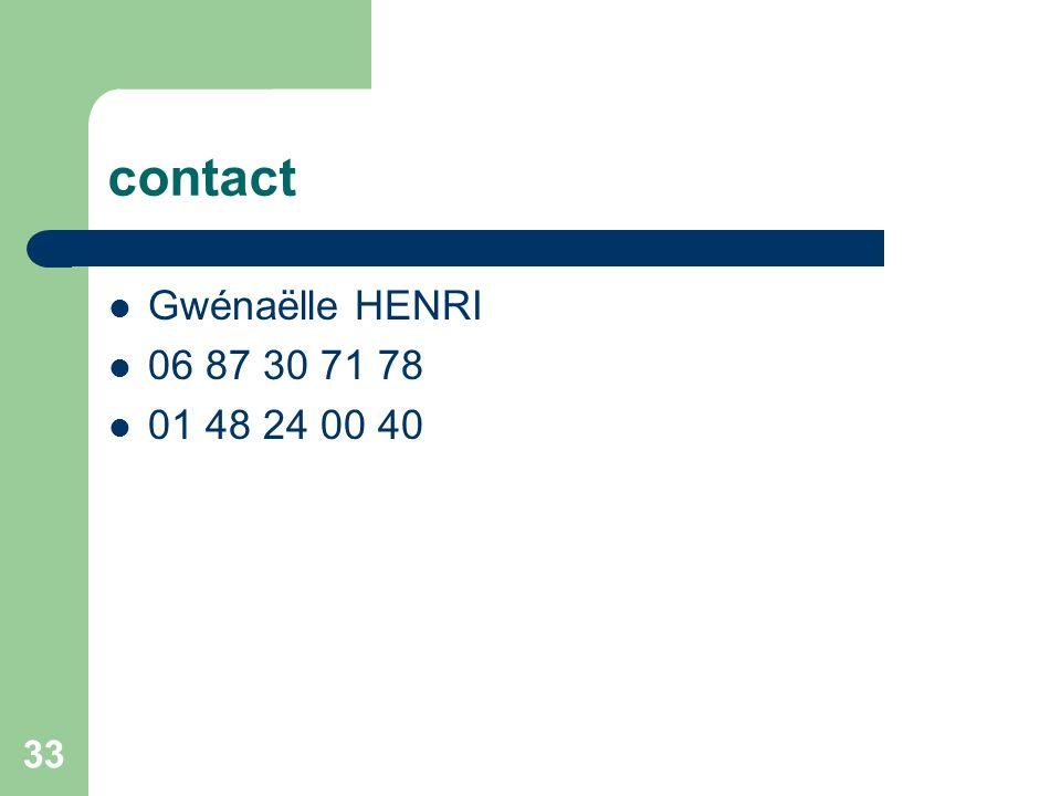 contact Gwénaëlle HENRI 06 87 30 71 78 01 48 24 00 40