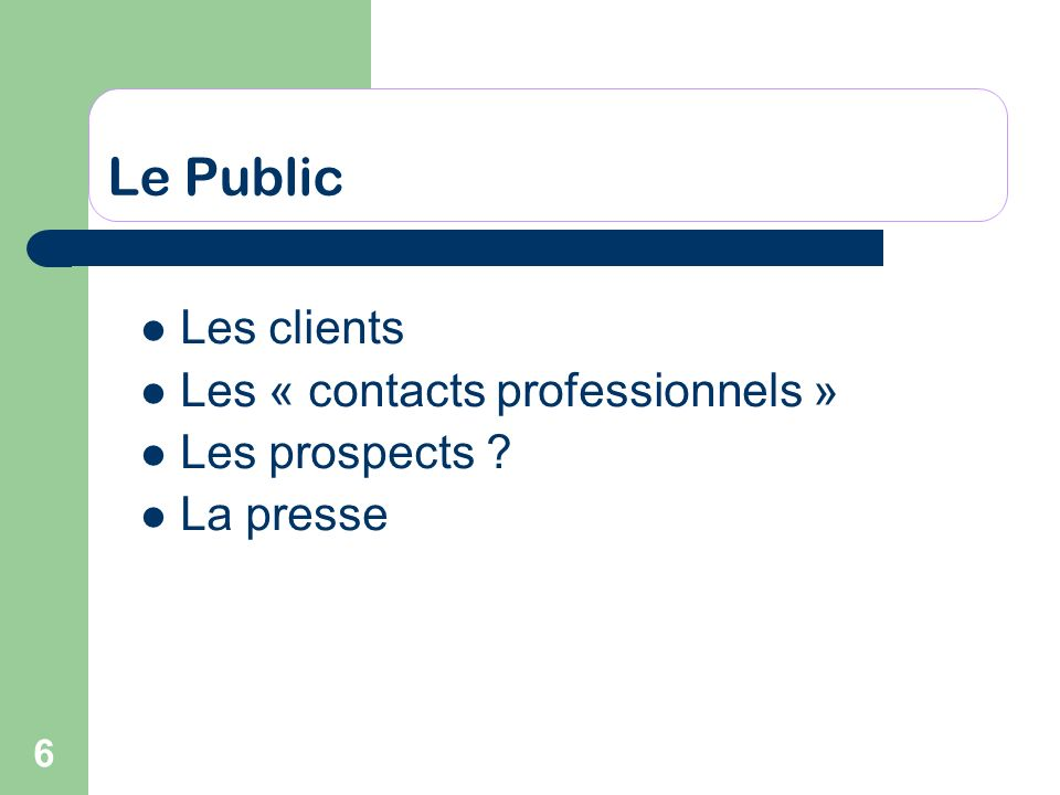 Le Public Les clients Les « contacts professionnels » Les prospects
