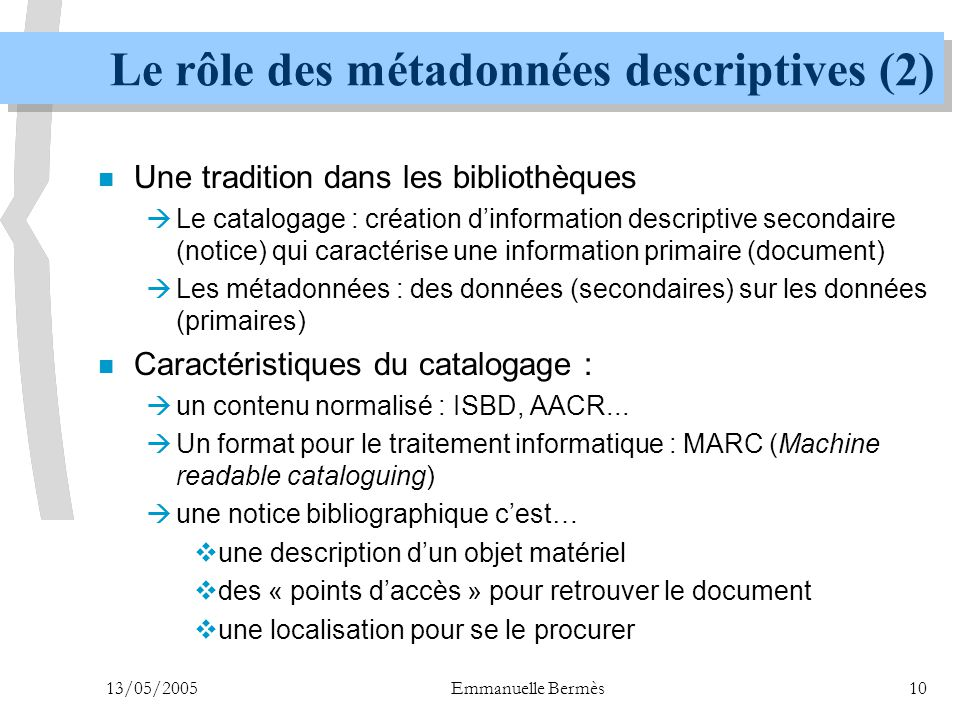 Le rôle des métadonnées descriptives (2)