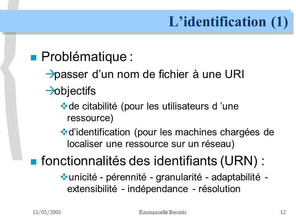 L'identification (1) Problématique :