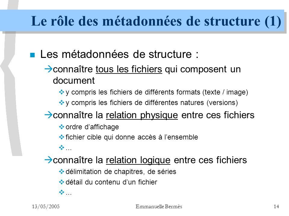 Le rôle des métadonnées de structure (1)