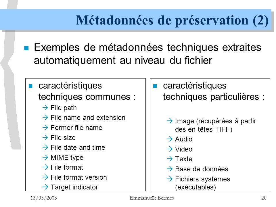 Métadonnées de préservation (2)