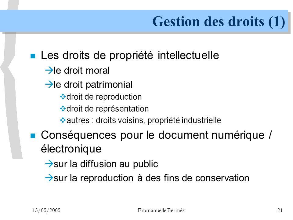 Gestion des droits (1) Les droits de propriété intellectuelle