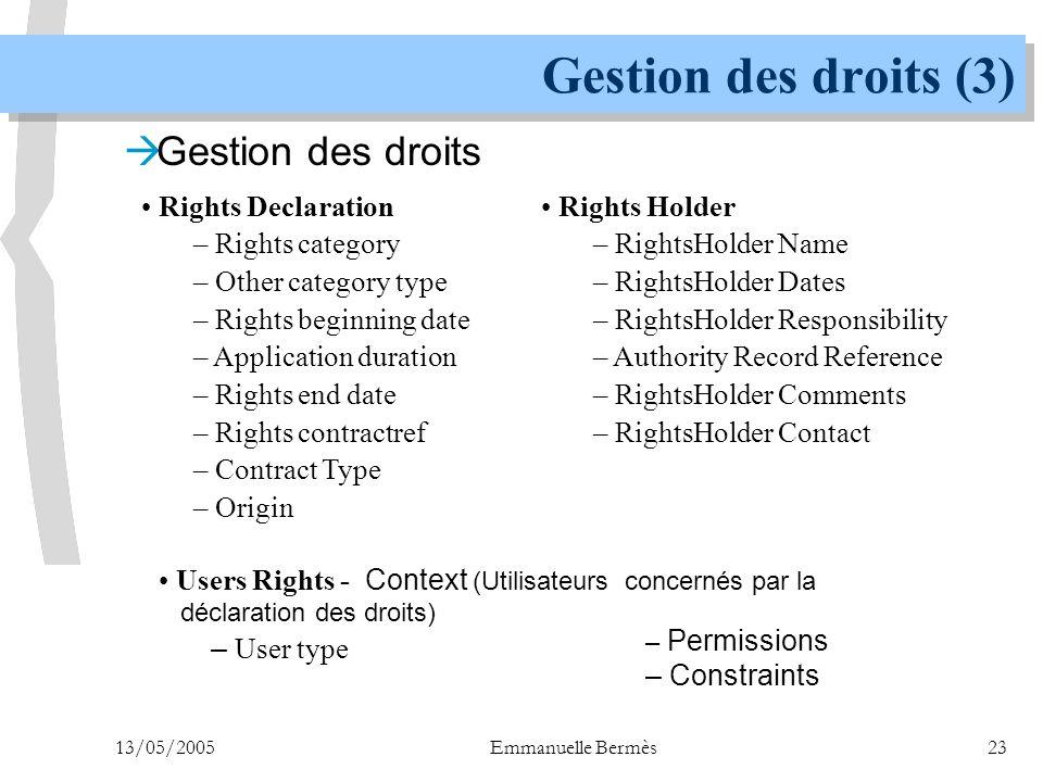 Gestion des droits (3) Gestion des droits Rights Declaration