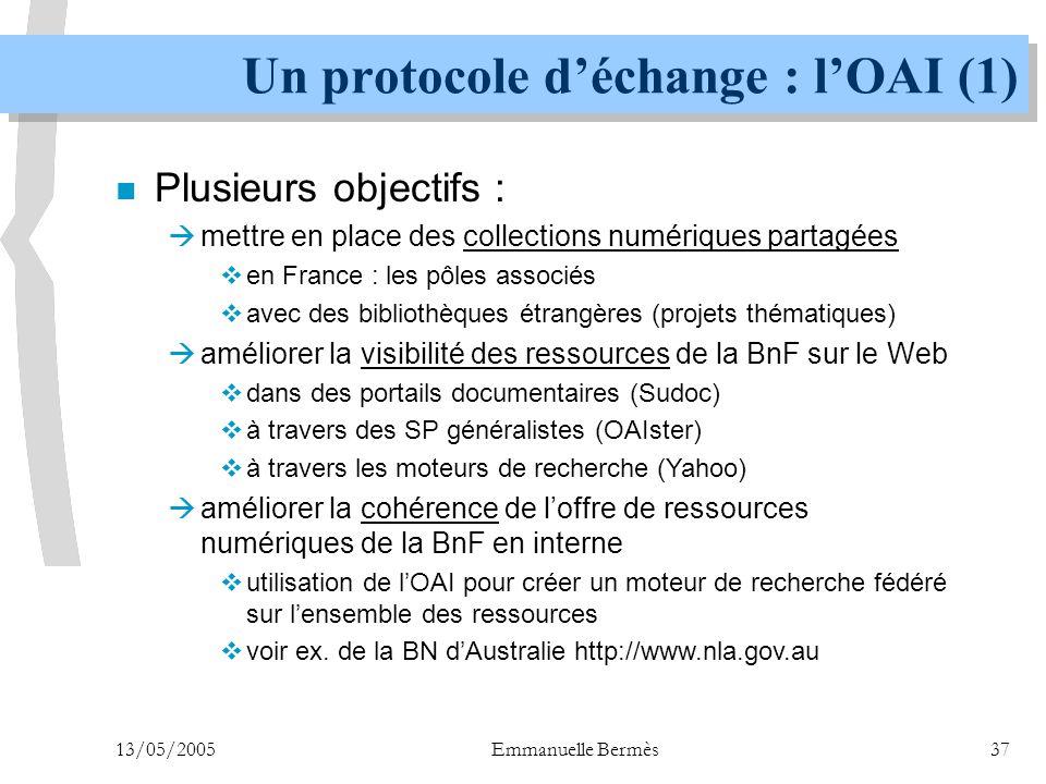 Un protocole d'échange : l'OAI (1)