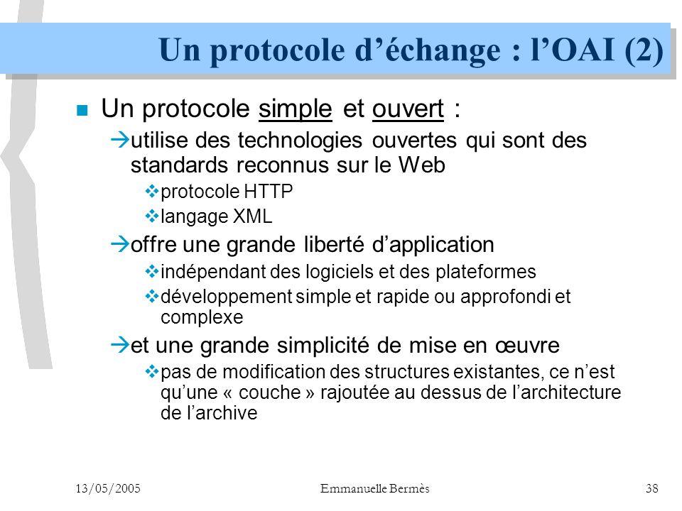 Un protocole d'échange : l'OAI (2)