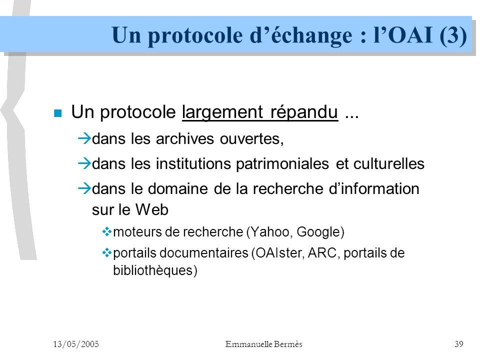 Un protocole d'échange : l'OAI (3)