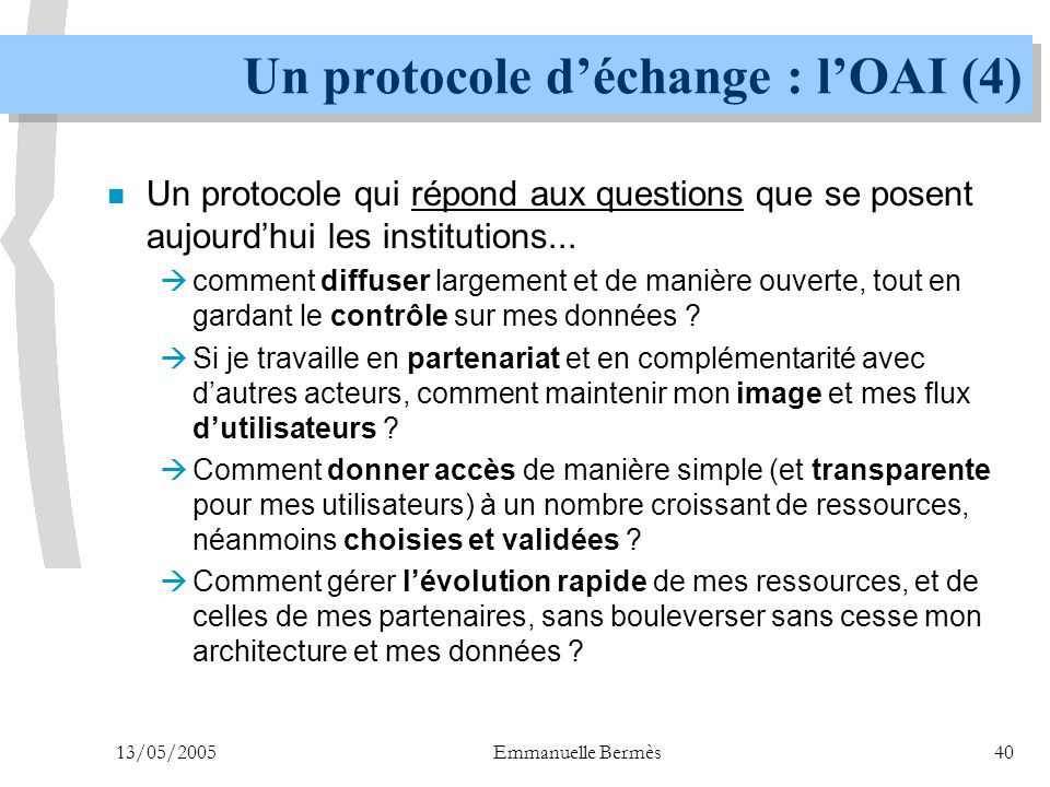 Un protocole d'échange : l'OAI (4)