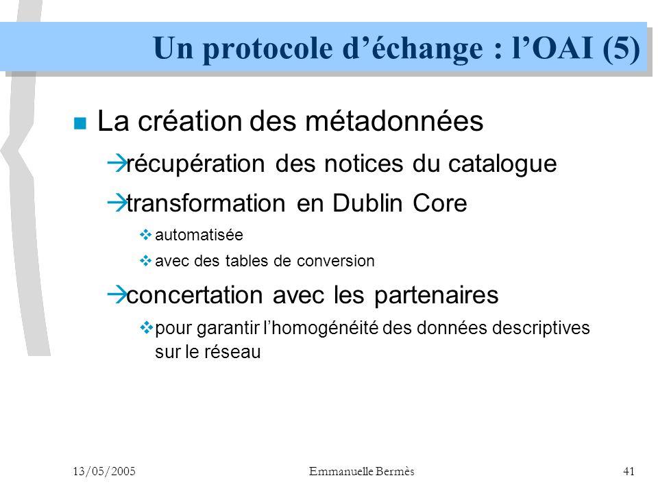 Un protocole d'échange : l'OAI (5)