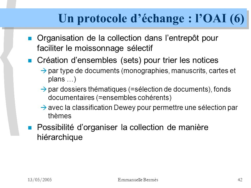 Un protocole d'échange : l'OAI (6)
