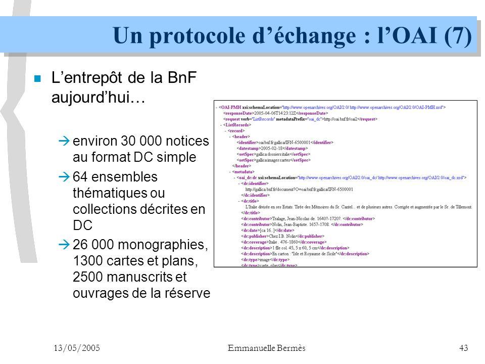 Un protocole d'échange : l'OAI (7)