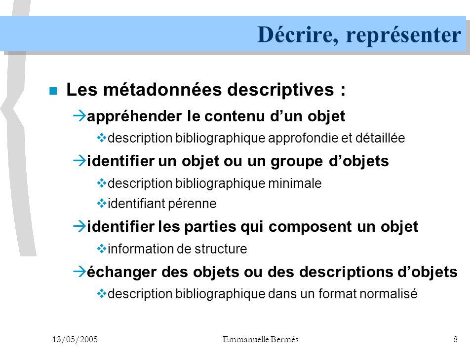 Décrire, représenter Les métadonnées descriptives :