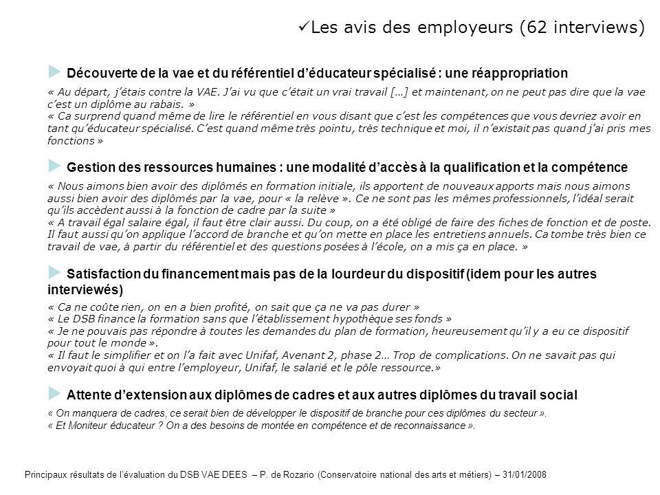 Les avis des employeurs (62 interviews)