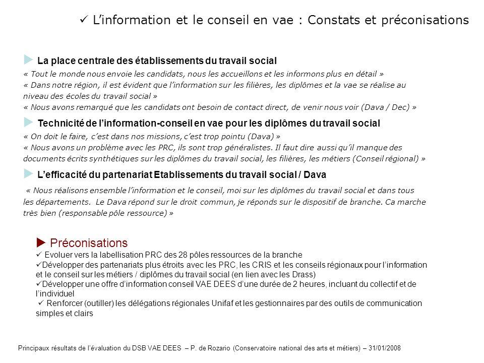  L'information et le conseil en vae : Constats et préconisations