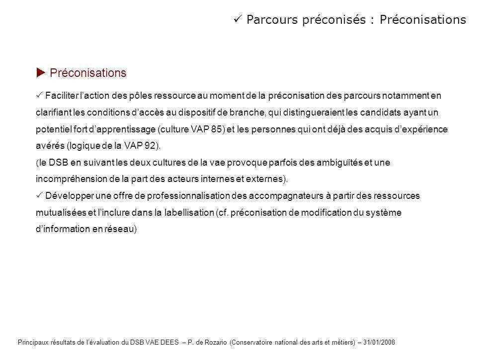  Parcours préconisés : Préconisations