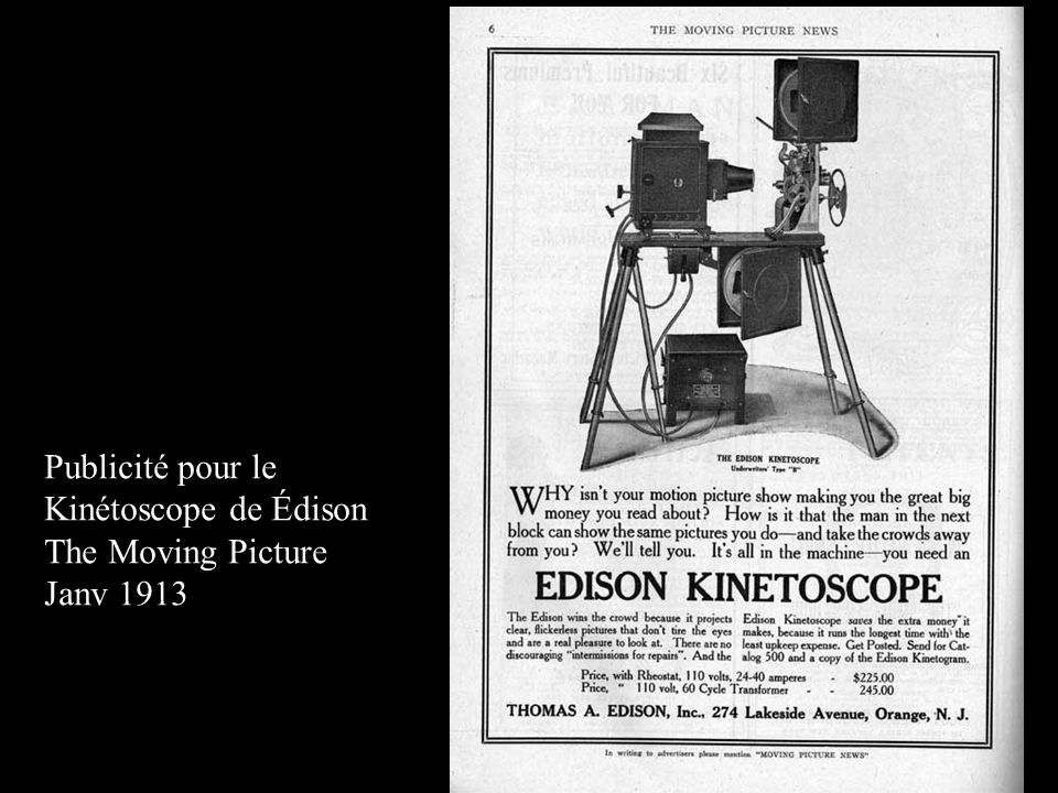 Publicité pour le Kinétoscope de Édison The Moving Picture Janv 1913
