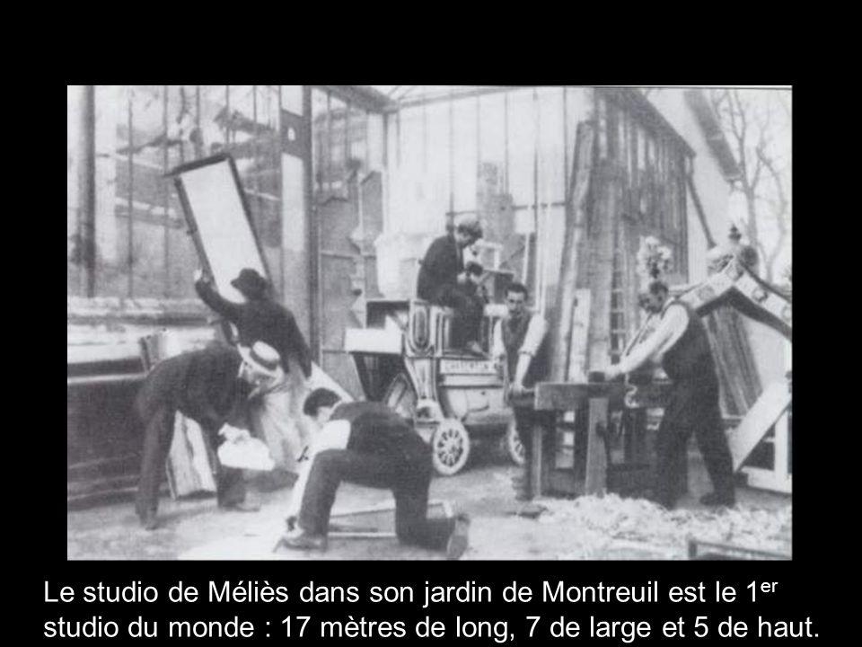 Le studio de Méliès dans son jardin de Montreuil est le 1er studio du monde : 17 mètres de long, 7 de large et 5 de haut.