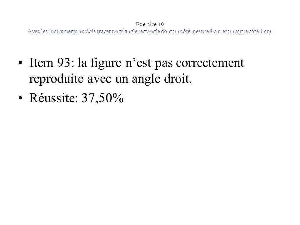 Exercice 19 Avec les instruments, tu dois tracer un triangle rectangle dont un côté mesure 3 cm et un autre côté 4 cm.
