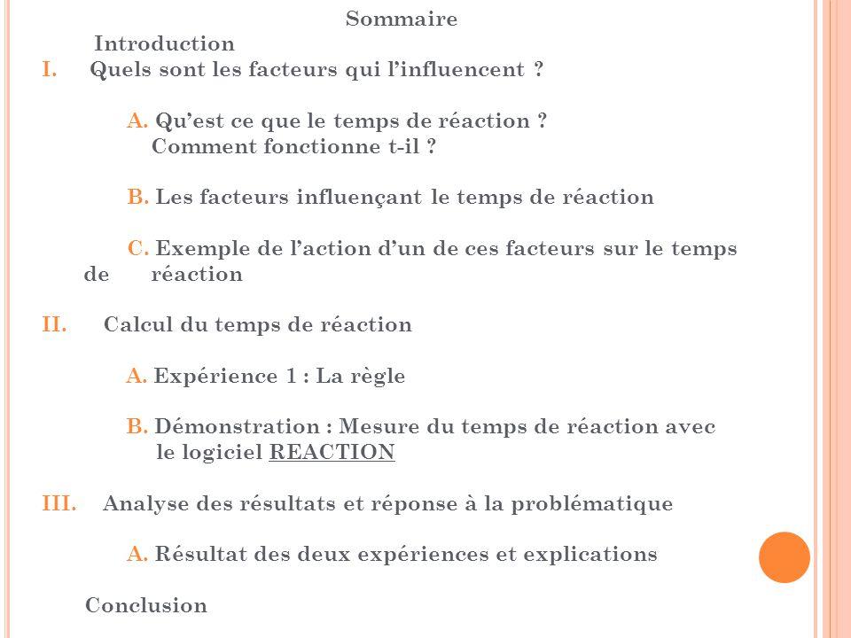 Sommaire Introduction I. Quels sont les facteurs qui l'influencent A. Qu'est ce que le temps de réaction
