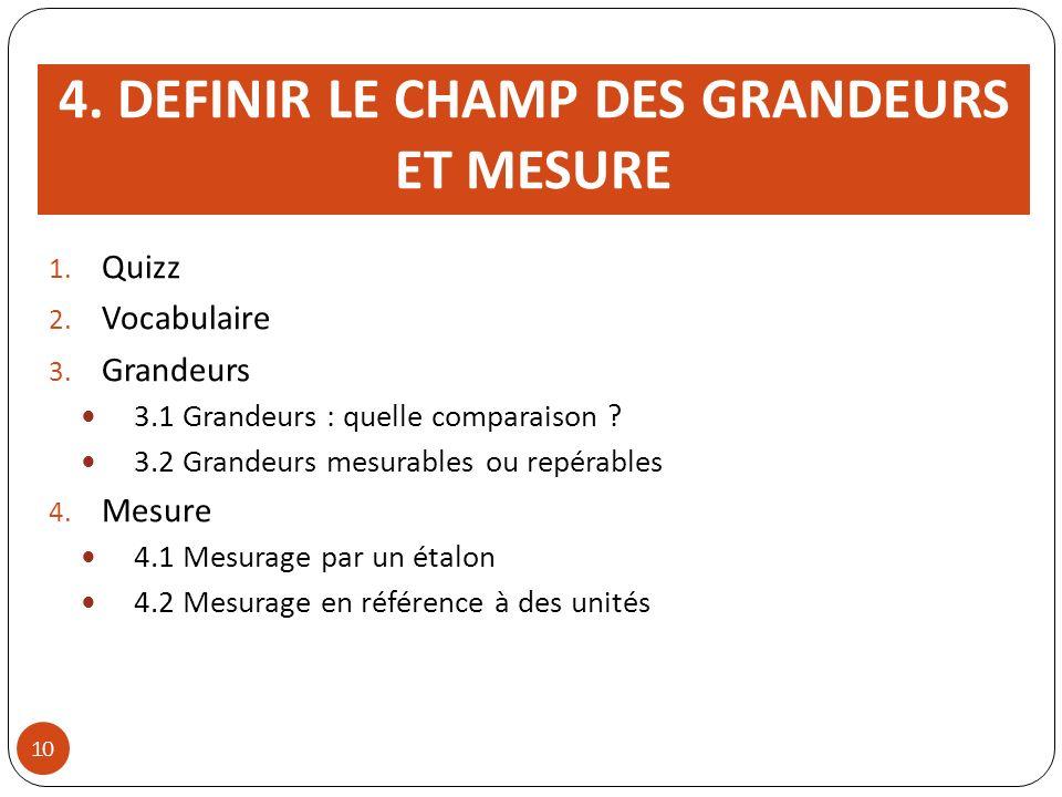 4. DEFINIR LE CHAMP DES GRANDEURS ET MESURE