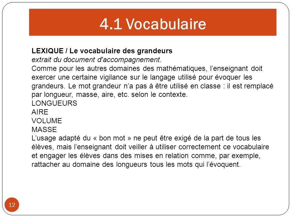 4.1 Vocabulaire LEXIQUE / Le vocabulaire des grandeurs