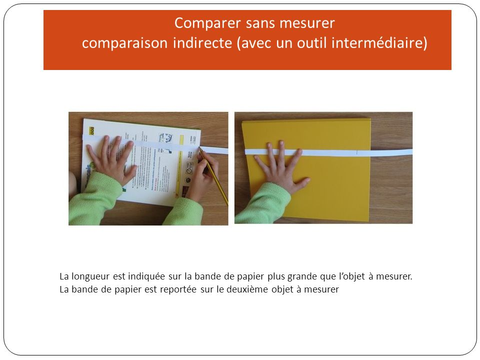 Comparer sans mesurer comparaison indirecte (avec un outil intermédiaire)