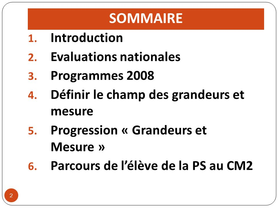 SOMMAIRE Introduction Evaluations nationales Programmes 2008