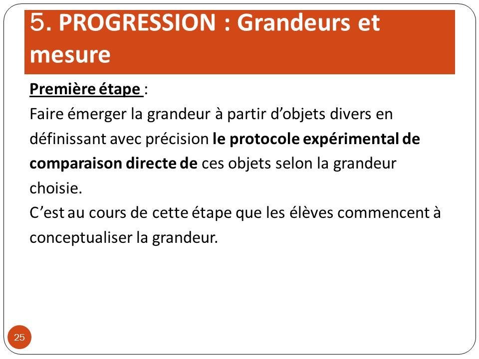 5. PROGRESSION : Grandeurs et mesure