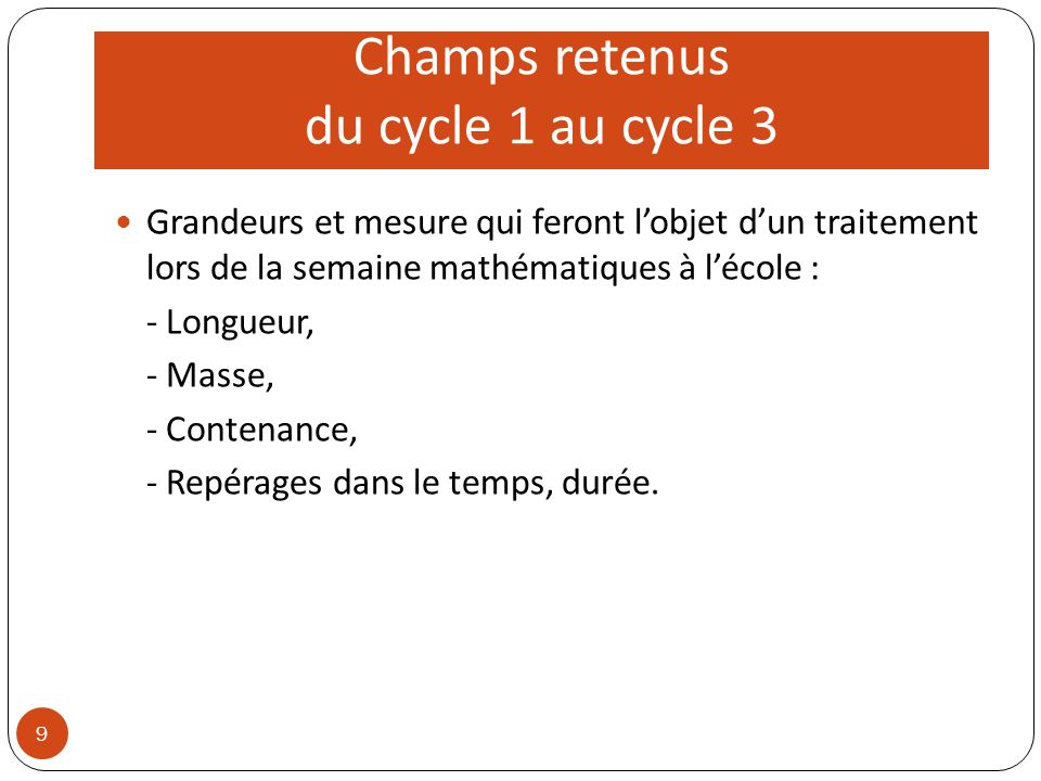 Champs retenus du cycle 1 au cycle 3