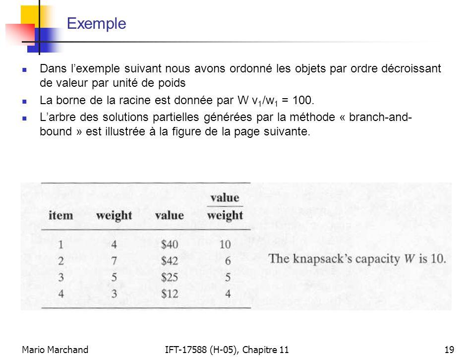 Exemple Dans l'exemple suivant nous avons ordonné les objets par ordre décroissant de valeur par unité de poids.