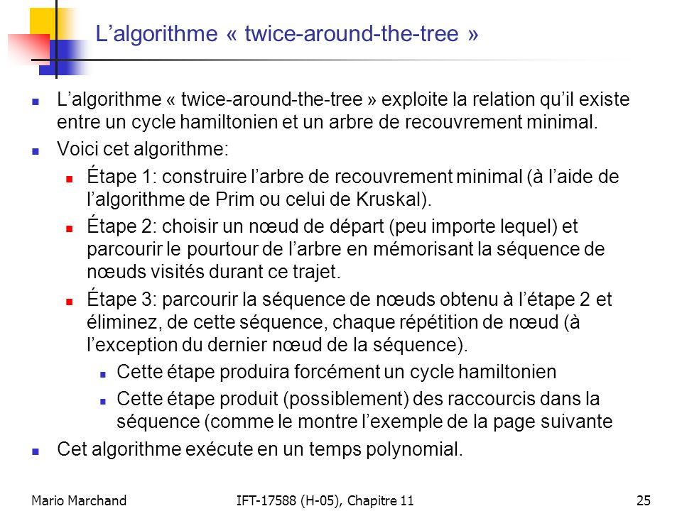 L'algorithme « twice-around-the-tree »