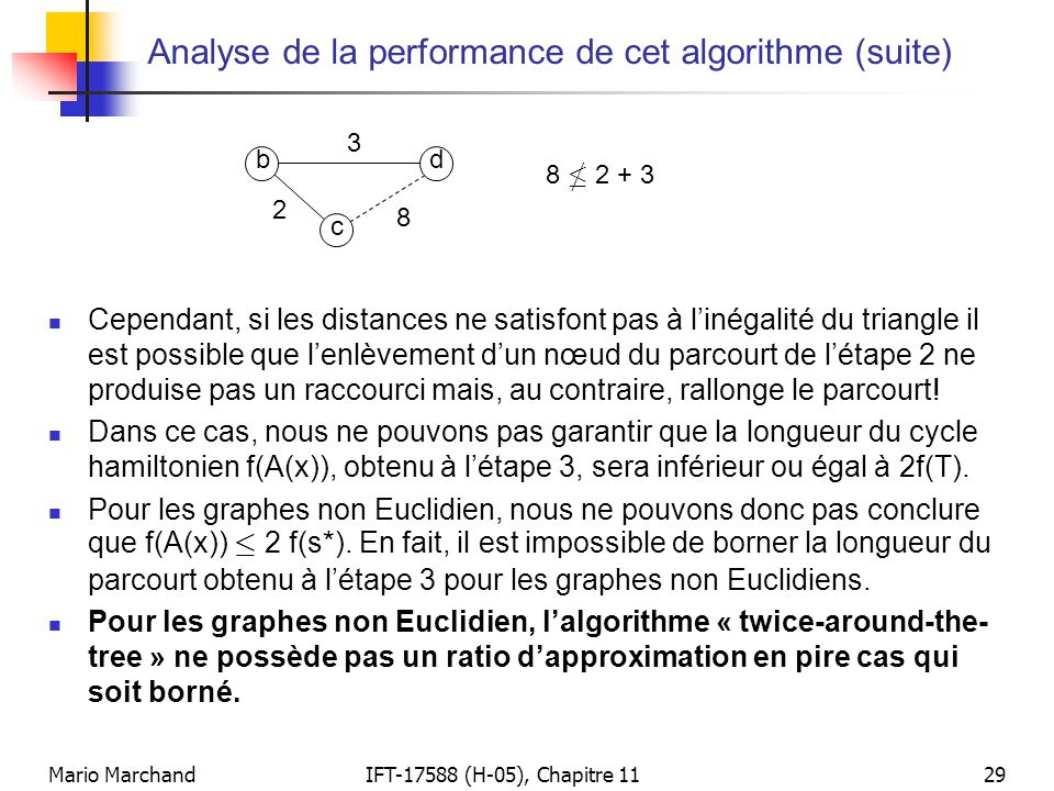 Analyse de la performance de cet algorithme (suite)