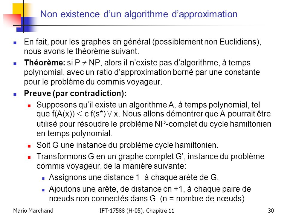 Non existence d'un algorithme d'approximation