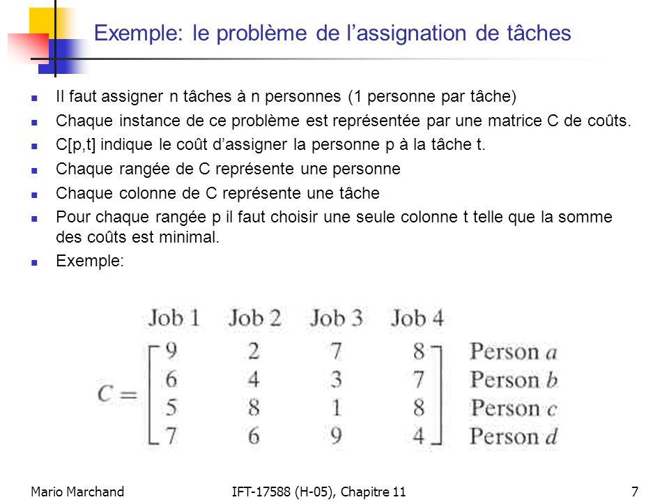 Exemple: le problème de l'assignation de tâches