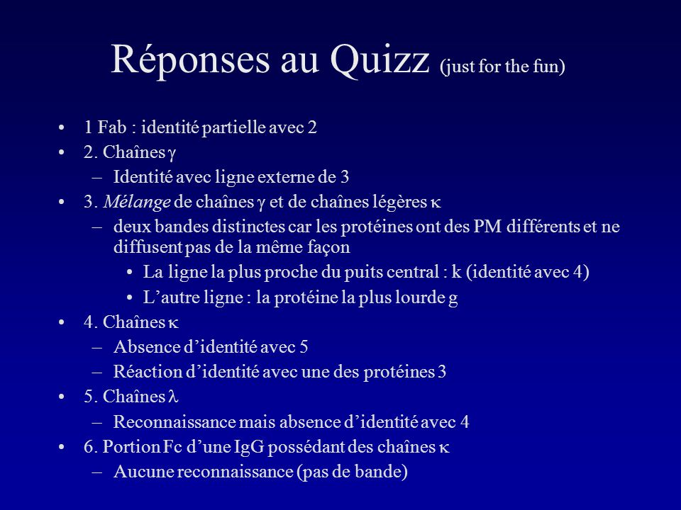 Réponses au Quizz (just for the fun)