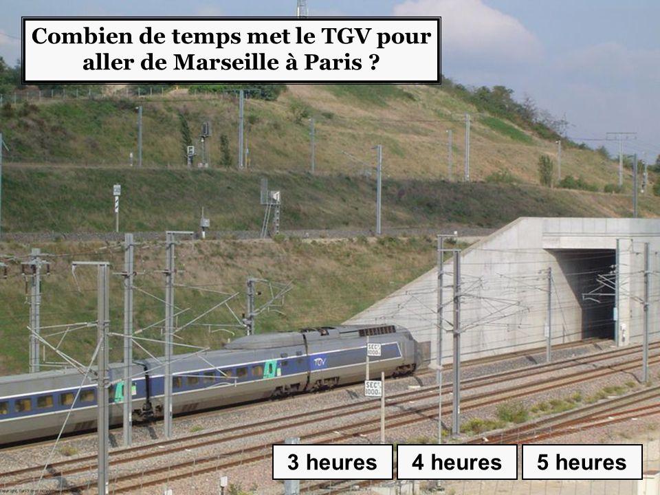 Combien de temps met le TGV pour aller de Marseille à Paris