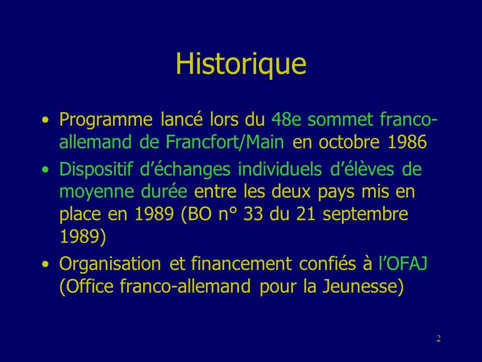 Historique Programme lancé lors du 48e sommet franco-allemand de Francfort/Main en octobre 1986.
