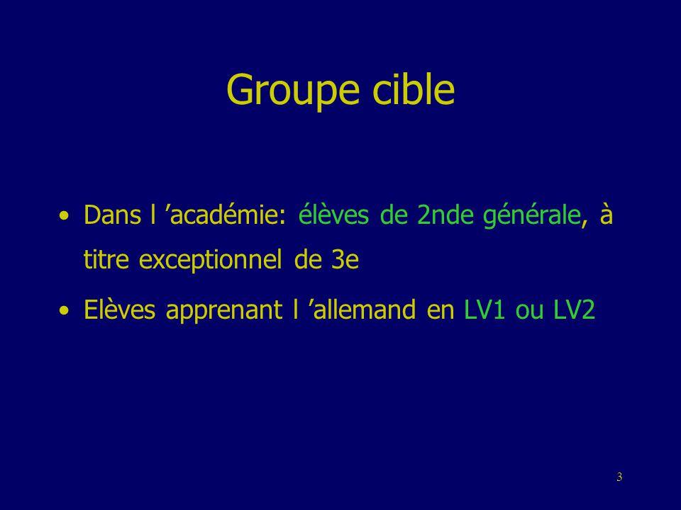 Groupe cible Dans l 'académie: élèves de 2nde générale, à titre exceptionnel de 3e.