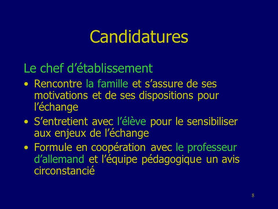Candidatures Le chef d'établissement