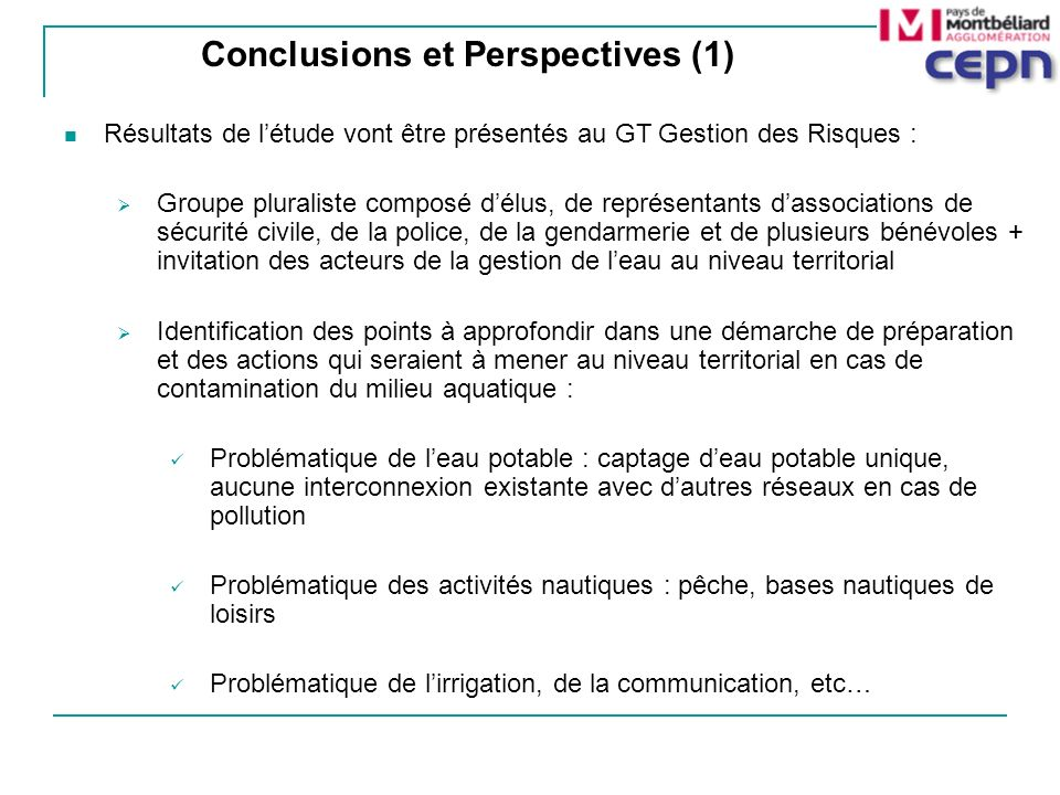 Conclusions et Perspectives (1)