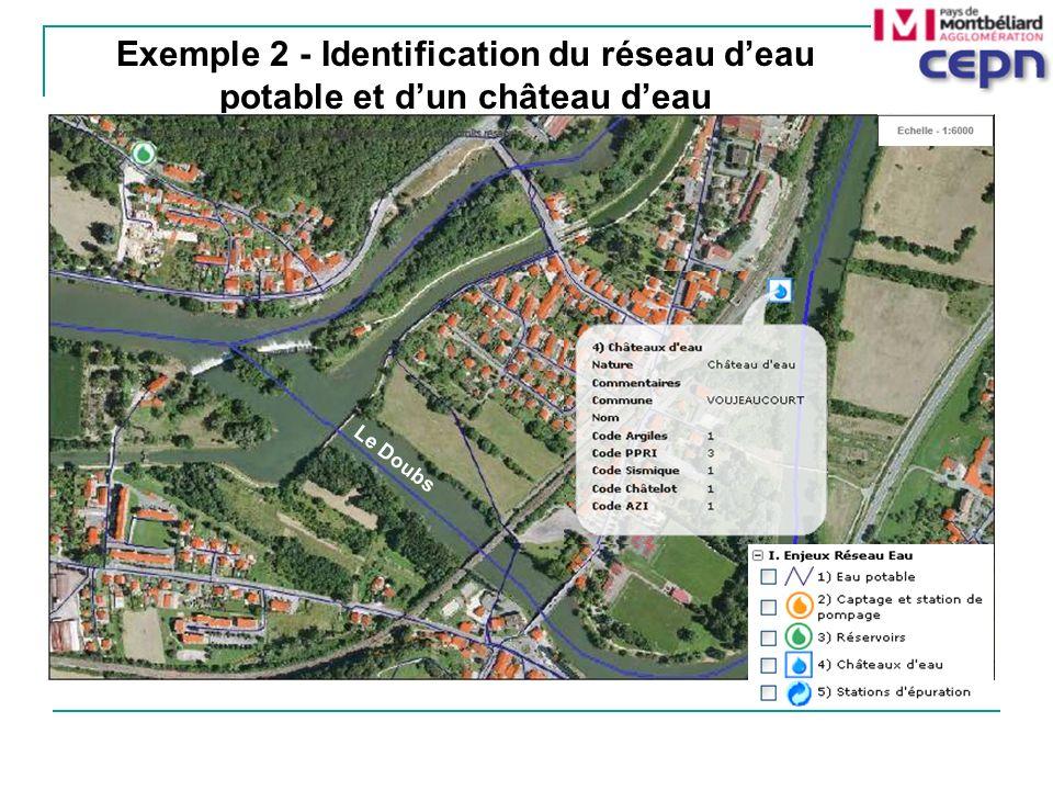 Exemple 2 - Identification du réseau d'eau potable et d'un château d'eau