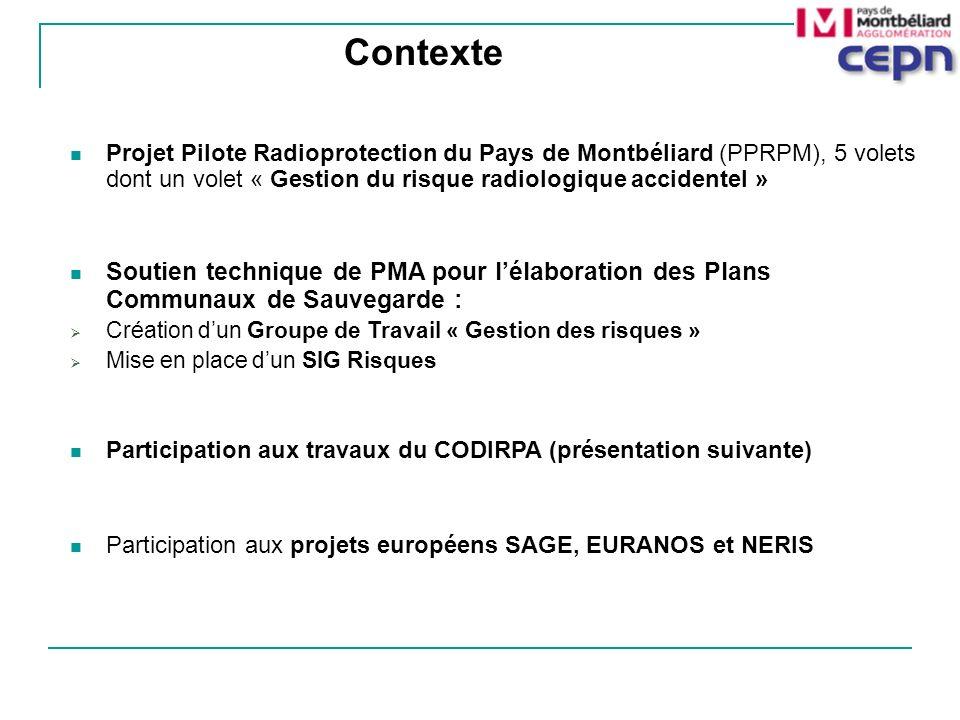 Contexte Projet Pilote Radioprotection du Pays de Montbéliard (PPRPM), 5 volets dont un volet « Gestion du risque radiologique accidentel »