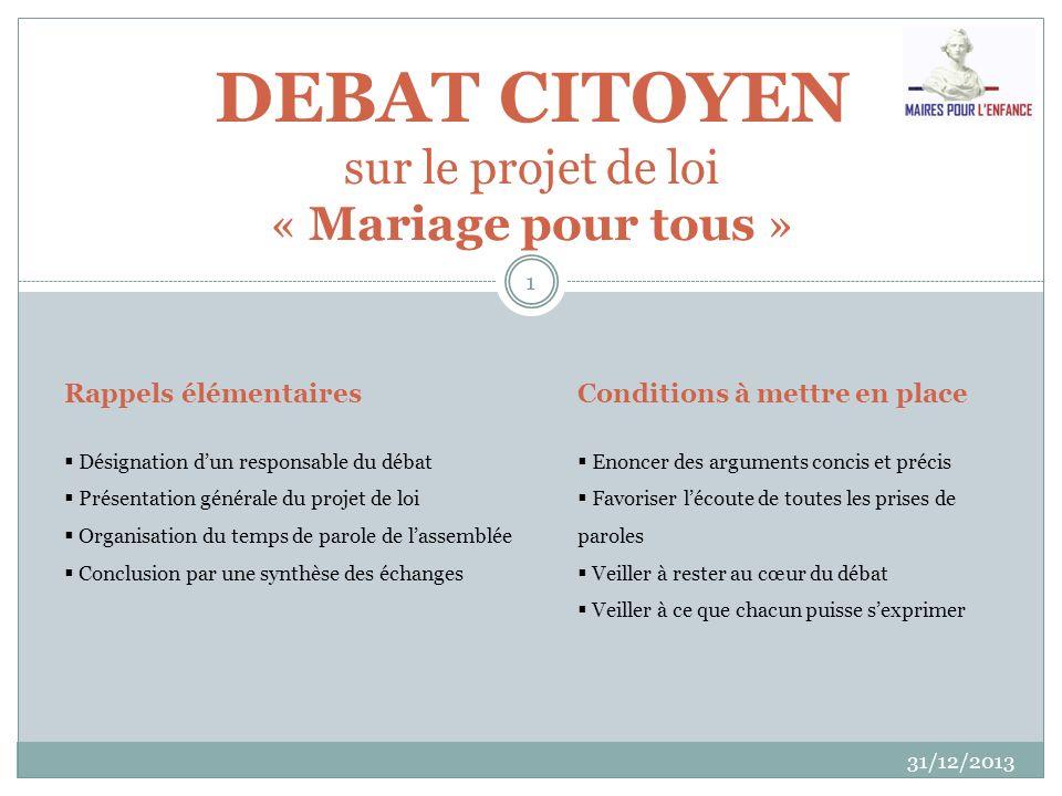 DEBAT CITOYEN sur le projet de loi « Mariage pour tous »