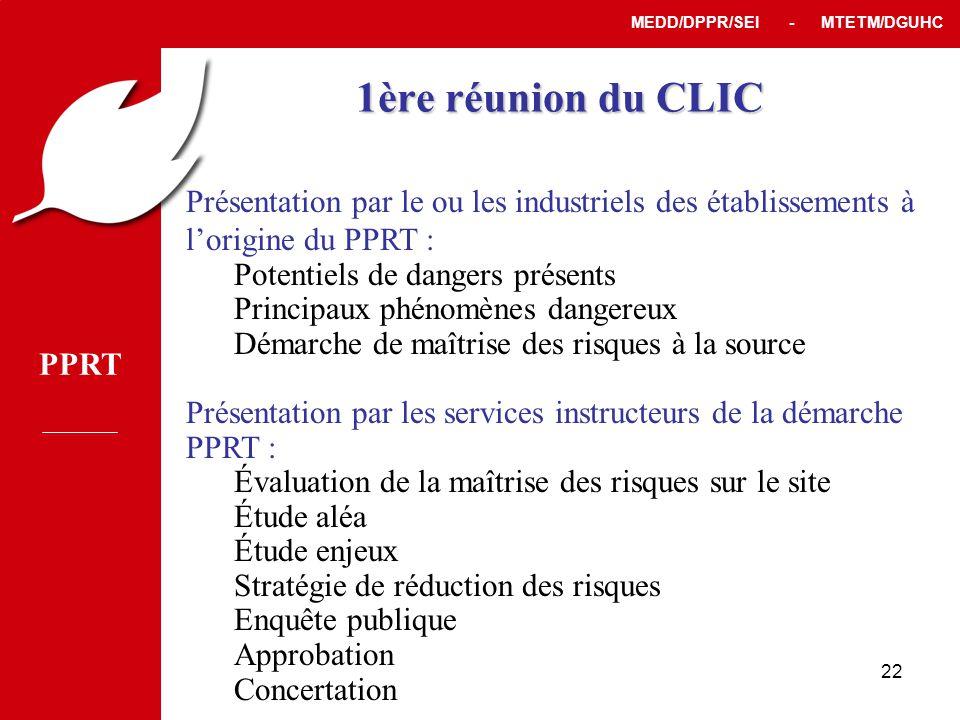 1ère réunion du CLIC Présentation par le ou les industriels des établissements à l'origine du PPRT :