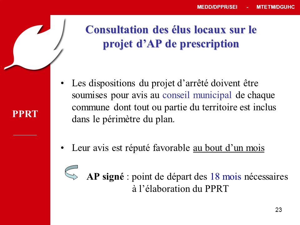 Consultation des élus locaux sur le projet d'AP de prescription