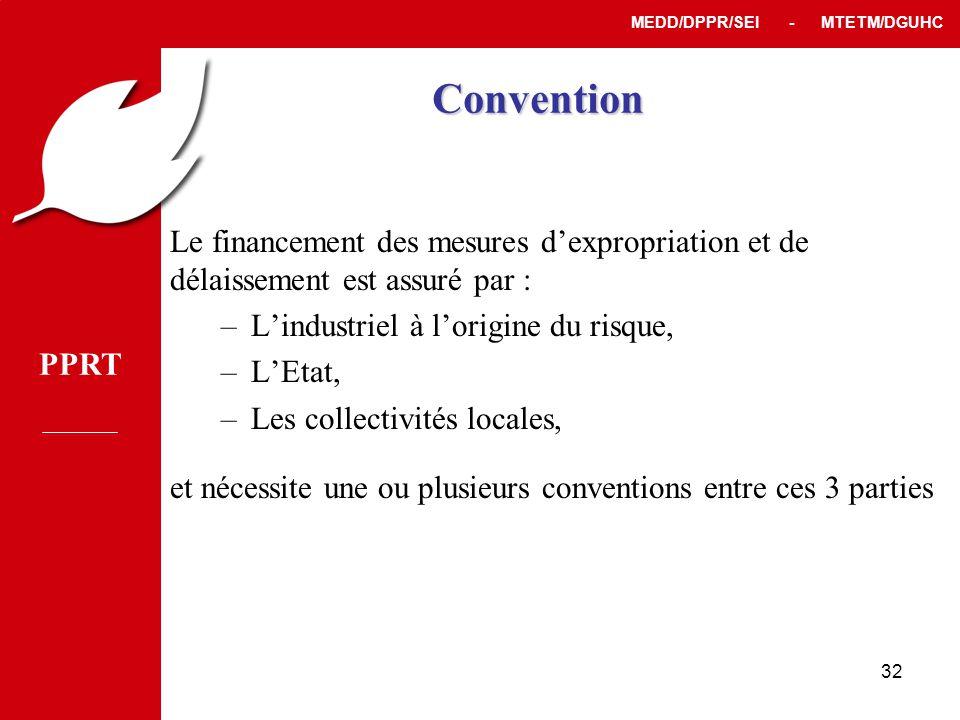 Convention Le financement des mesures d'expropriation et de délaissement est assuré par : L'industriel à l'origine du risque,