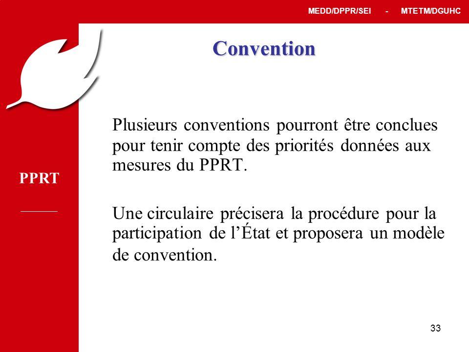 Convention Plusieurs conventions pourront être conclues pour tenir compte des priorités données aux mesures du PPRT.