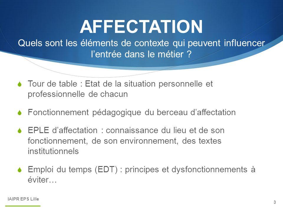 AFFECTATION Quels sont les éléments de contexte qui peuvent influencer l'entrée dans le métier